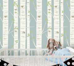 Birch Tree Wallpaper in Blue  Self Adhesive by InAnInstantArt