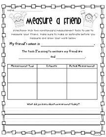 Crazy for First Grade: Measurement Fun! For math with someone and math by… First Grade Measurement, Measurement Kindergarten, Measurement Activities, Math Measurement, Second Grade Math, Math Activities, Grade 1, Kindergarten Math, Math Games
