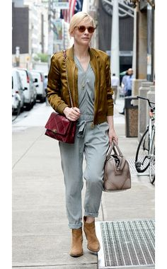 Cate Blanchett WHAT: Roger Vivier bag, Givenchy tote WHERE: On the street, New York City