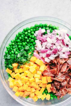 Creamy Pea Salad with Bacon is a popular southern dish that is filled with crunchy peas, crispy bacon, chopped red onions, and cheddar cheese. Pea Salad With Bacon, Bacon Salad, Pea Salad Recipes, Potluck Side Dishes, Creamy Peas, Different Salads, Spaghetti Salad, Ambrosia Salad, Cooking Recipes