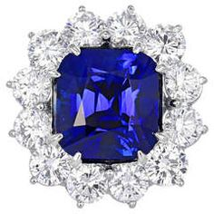 11.14 Carat Sapphire and 5.50 Carats of Diamonds Cluster Ring