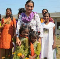 @TriveniAcharya with a few of the precious children she has rescued from child traffickers in India.