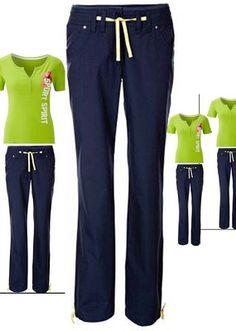 Damen Sporthose Freizeithose marine und Shirt  Neon Grün Neu  Gr. 44 € 22,90