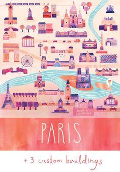 "Customized Illustrated Paris Map, 24"" x 30"", Digital Print"