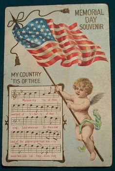 Memorial Day Art ★ Vintage Greeting Card, free piece of American Memorial Day History a beautiful printable copyright free public domain Vintage Memorial Day American Patriotic Picture Greeting Post Card: Memorial Day Souvenir card with an image of cute c Vintage Greeting Cards, Vintage Postcards, Holiday Postcards, Vintage Ephemera, Happy 4 Of July, Fourth Of July, Vintage Pictures, Vintage Images, Patriotic Pictures