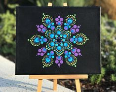 Feathers on Display Dotted Mandala / Decorative Art / Hand Painted / 8x10 Canvas / Matte protective coat.