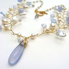 Karen Sugarman Designs: Forget Me Not Necklace (Flora Collection) – Chalcedony, Pearls and Blue Lace Agate