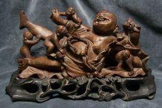 CHINA (Cina Chine): Old Chinese Buddha figurine carved in wood