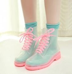Korea Transparent Crystal Jelly Rubber Boots by ana9112