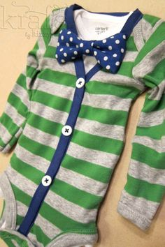 Baby Boy Green/Gray Stripe with Blue Cardigan Outfit with Removable Blue Polka Dot Bow Tie on Etsy. $35. Too cute!
