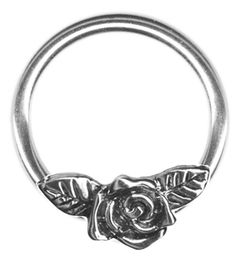 14 gauge Nipple Ring-One 14g 5/8 inch Rose Flower Captive Ring-Rose w/Leaves Flower Nipple Ring