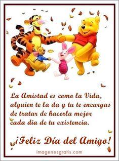 Feliz Día del Amigo! Winnie The Pooh, Bff, Disney Characters, Fictional Characters, Friendship, Tattos, Cami, Spanish, Google