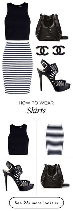 """""""Black&white striped skirt"""" by annanuorala on Polyvore"""