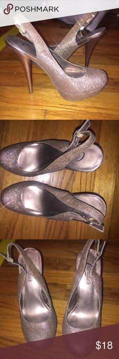 Candies Tan/Gold Glitter heels size 6 Candies glitter heels! So cute. Size 6 Candie's Shoes Heels