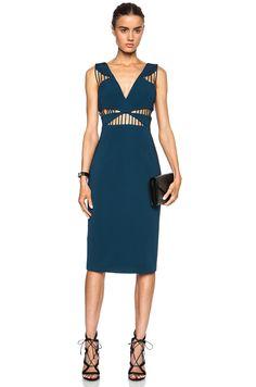 Image 1 of Cushnie et Ochs FORWARD EXCLUSIVE Power Viscose-Blend Dress in Blue Nile