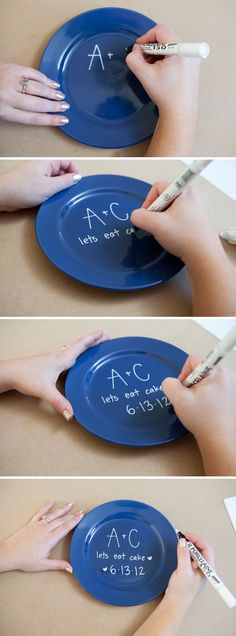 DIY cake plate: Keep in mind that this paint is NOT permanent at first!!! If you mess up your design – it is no problem! Simply keep a damp paper towel close, and wipe away the design that you don't want – see below. If your first coat of paint comes out a little light, carefully retrace your design