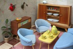 Communist Dollhouses: Stasi Chic in Miniature (Messy Nessy Chic) Miniature Furniture, Doll Furniture, Dollhouse Furniture, Dollhouse Interiors, Vintage Furniture, Vintage Dollhouse, Vintage Dolls, Bodo Hennig, Messy Nessy Chic