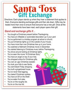 5 Awesome Holiday Gift Exchange Games to Play - Happy-Go-Lucky Yesterday I shared the Best Secret Santa Gift Idea EVER and now it's time to talk about holiday gift exchange games. Today I'm sharing 5 of my favorite Holiday Gift Exchange Games that you all Christmas Gift Exchange Games, Fun Christmas Party Games, Xmas Games, Holiday Games, Best Christmas Gifts, Christmas Traditions, Christmas Holidays, Christmas Decorations, Holiday Fun