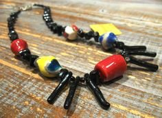 Adjustable black bamboo coral necklace and raku ceramic with silver hook/gift woman