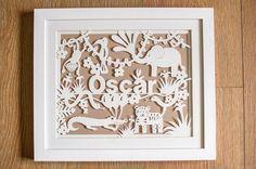 Personalised New Born Jungle Animal Papercut by papercutperfection