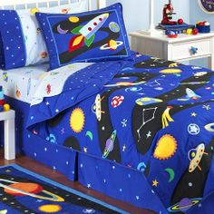 "Twin Comforter Sheet Set Out of This World by Olive Kids. $134.99. Set includes 1 Twin comforter and 3-piece sheetset.Blast off with Out Of This World Bedding! Our ultra soft comforter is made of 100% cotton and has a light weight fill; far more comfortable for little ones! The top features an entire solar system of planets, stars, rocket ships and more on a dark blue and black background. Outline stitching around the images make them ""pop"" off the comforter- an Olive Kid..."
