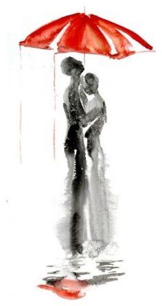 "Abstract Love red umbrella watercolor painting 13""x19"" by Elena Romanova…"