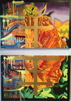 """""""Napalm/Phoenix"""" - (2) 24"""" x 36"""" panels - oil, enamel, spray paint & house paint on canvas. AVAILABLE $1000.  by Nicholas Tindall 2015"""