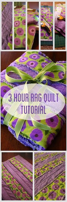 3 Hour Rag Quilt Tutorial.  Cute, easy and quick!  http://www.brightgreendoor.com/3-hour-rag-quilt-tutorial/