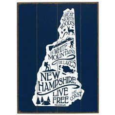 Live Free New Hampshire Wood Sign