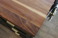 How We Refinished our Butcher block Countertop - Chris Loves Julia Butcher Block Countertops Kitchen, Walnut Countertop, Kitchen Cabinets, Kitchen Sink Design, Kitchen Redo, Cheap Kitchen, Kitchen Ideas, Walnut Butcher Block, Butcher Blocks