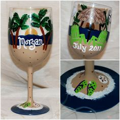 Beach Scene Handpainted Wine Glass by SunnyBelleDesigns on Etsy, $18.00