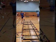 Hoping in and out of a raised agility ladder Physical Education, Ladder, Physics, Fitness, Stairway, Physical Education Lessons, Physical Education Activities, Ladders, Physique