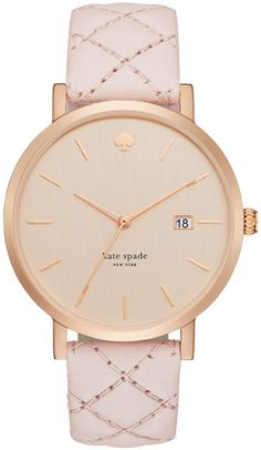 Kate Spade Metro Grand Rose Goldtone Stainless Steel & Quilted Leather Strap Watch in Gold (rose gold-blush)