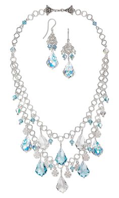 Jewelry Design - Double-Strand Necklace and Earring Set with Swarovski Crystal Drops and Beads, Sterling Silver Charms and Sterling Silver Chain - Fire Mountain Gems and Beads