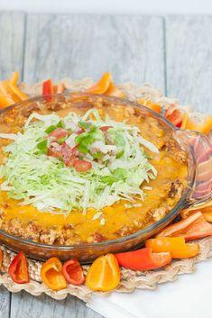 Healthier Taco Pie - a fun dinner or dip recipe - Low Calorie, Low Fat, Healthy