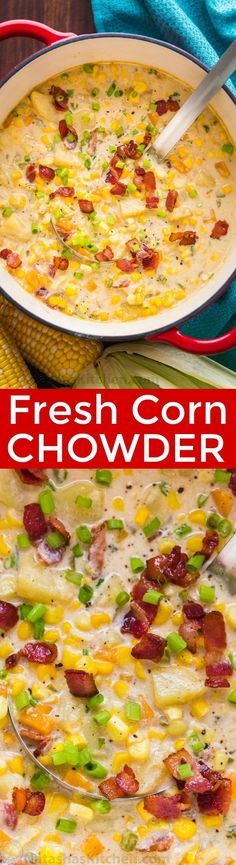Fresh Corn Chowder recipe loaded with summer produce at its peak of freshness. This is a crowd-pleasing chowder that is perfect for entertaining.It is loaded with local corn from Walmart and where you can find a variety of fresh locally grown veggies.#sponsored #cornchowder #chowder #soup #souprecipes #cornrecipes #savorsummer Corn Recipes, Chili Recipes, Mexican Food Recipes, Corn Chowder Recipes, Ethnic Recipes, Fall Recipes, Crock Pot Soup, Soup And Salad, Soups And Stews