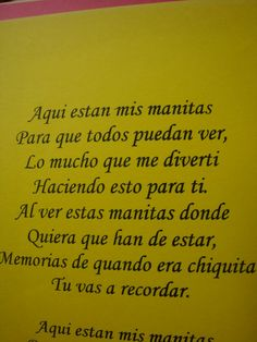 spanish poems for moms from children | These are just some poems you can use for mother's day for a hand ...