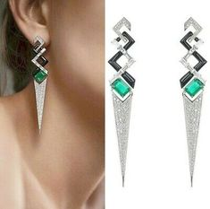 The V collection by the Greek jewellery designer Nikos Koulis. Set with emeralds, diamonds and black enamel. Oprah Winfrey wearing V collection long earrings at the Emmys and Keri Russell wearing V collection earrings and rings. ➡ P L E A S E swipe Jewellery Sketches, Jewelry Drawing, Greek Jewelry, Fine Jewelry, Gothic Jewelry, Silver Jewelry, Geometric Jewelry, Girls Jewelry, Designer Earrings