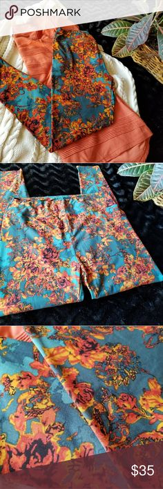 BNWOT Lularoe TC Leggings Teal & Orange Roses ☕Beautiful antique rose print, in oranges and mustard, on a multi-shade teal background. Wear it out for all your pumpkin spice flavored favorites! LuLaRoe Pants Leggings