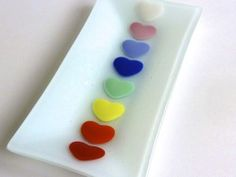 Valentine Rainbow Hearts Rectangular Fused Glass Dish