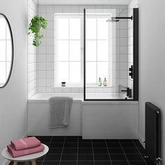 Bath Shower Screens, Shower Over Bath, Shower Bath Combo, Plastic Shower Wall Panels, Shower Doors, Black Bath, Black Shower, Straight Baths, L Shaped Bath