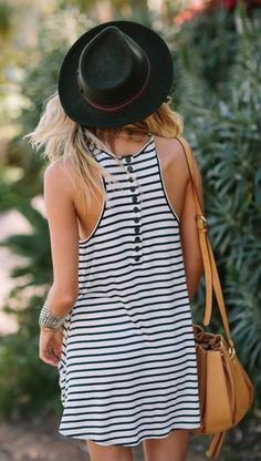 Victoria's Secret Style: Button Accent Striped Inspiration Dress