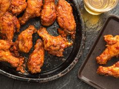 KOREAN FRIED CHICKEN-Double-frying is the secret to achieving the delicate, crackly crust on these sweet-sour-salty-spicy-perfect Korean chicken wings. Korean Chicken Wings, Korean Fried Chicken, Fried Chicken Wings, Fried Chicken Recipes, Fried Pork, Asian Wings, Kyochon Chicken Recipe, Kfc, Greek Fried Cheese