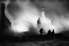 Firefighters fighting a blaze in Kajaani during the Winter War    photo credit: Iltalehti