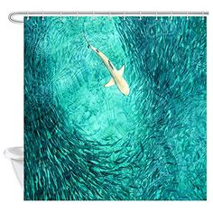 NYMB White Shark Hunting Fishes in The Blue Ocean Shower Curtain - Shower Curtains Boutique Ocean Shower Curtain, Nautical Shower Curtains, Fabric Shower Curtains, Bathroom Shower Curtains, Ocean Bathroom Themes, Nautical Bathroom Decor, Bathroom Beach, Ocean Fabric, Curtain Ideas