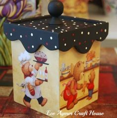 beautiful decorative box for the kitchen Tole Painting, Diy Painting, Painting On Wood, Wooden Art, Wooden Boxes, Home Crafts, Diy And Crafts, Beaded Boxes, Decoupage Box