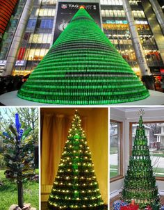 This design uses circular platforms to support each tier of bottles, and as you can see, the result is as big as you want it to be, from a standard living room-sized tree to the monster 1,000-Heineken-bottle tree set up in Shanghai in 2009. Bottle trees are also popular year-round as garden art and easy to create.