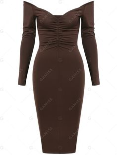 Alluring Low Cut Shirred Long Sleeve Dress #fashion #style #coffee #dress #sexy