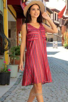0f2c3b396c6a5 2018 Günlük Elbise Modelleri Kırmızı Kısa Askılı V Yakalı Çizgili Dresses,  Fashion, Shoulder Dress