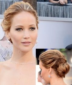Updo Low Bun Oscar Hairstyles Jennifer Lawrence Hair Hair Inspiration